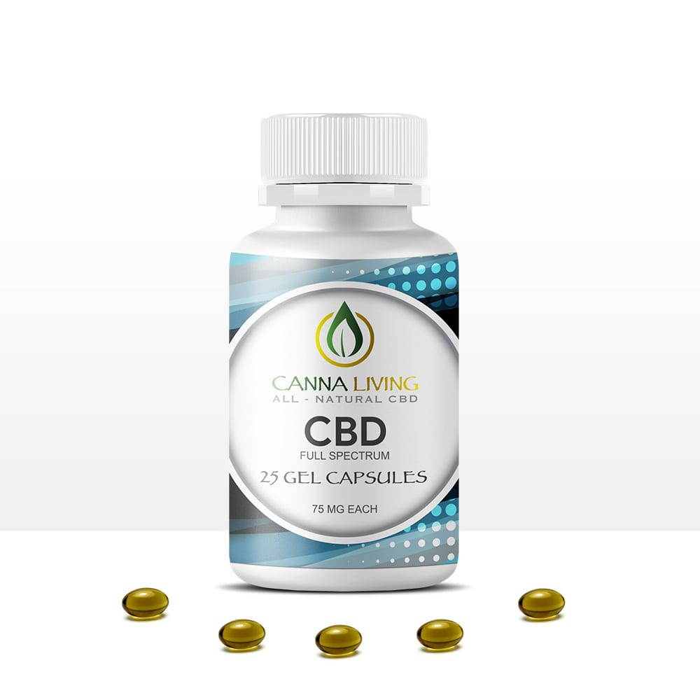 25 Pack 75mg Full Spectrum CBD with MCT Gel Capsules